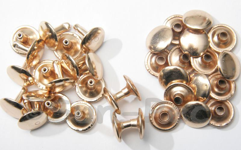 Soft Gold 12 x 12mm Flat Round Dome Rivet & Burr Sets 10pcs - 100pcs