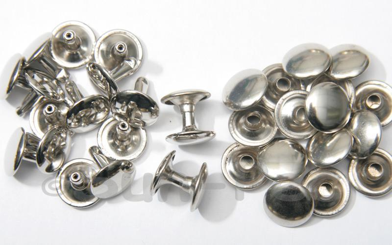 Silver 12 x 12mm Flat Round Dome Rivet & Burr Sets 10pcs - 100pcs