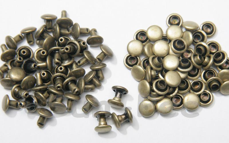 Antique Brass 6 x 6mm Flat Round Dome Rivet & Burr Sets 10pcs - 100pcs