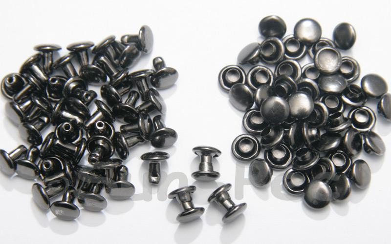 Gunmetal Black 6 x 6mm Flat Round Dome Rivet & Burr Sets 10pcs - 100pcs