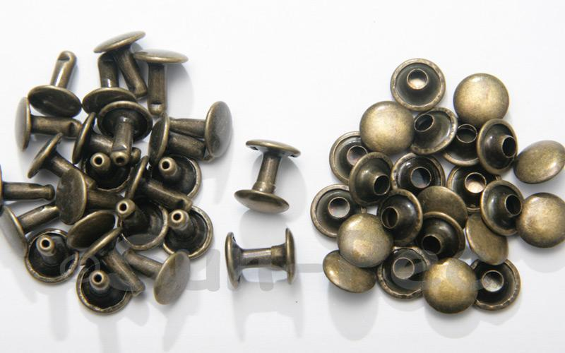 Antique Bronze 9 x 10mm Flat Round Dome Rivet & Burr Sets 10pcs - 100pcs