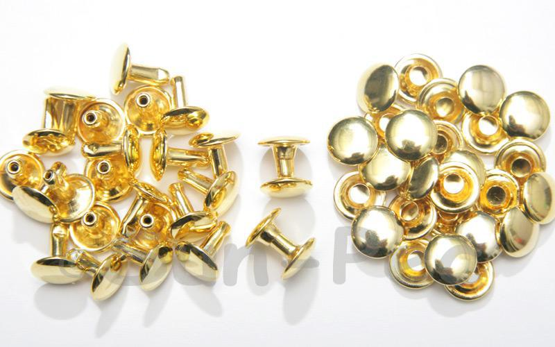 Bright Gold 9 x 10mm Flat Round Dome Rivet & Burr Sets 10pcs - 100pcs