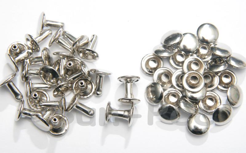 Silver 9 x 10mm Flat Round Dome Rivet & Burr Sets 10pcs - 100pcs