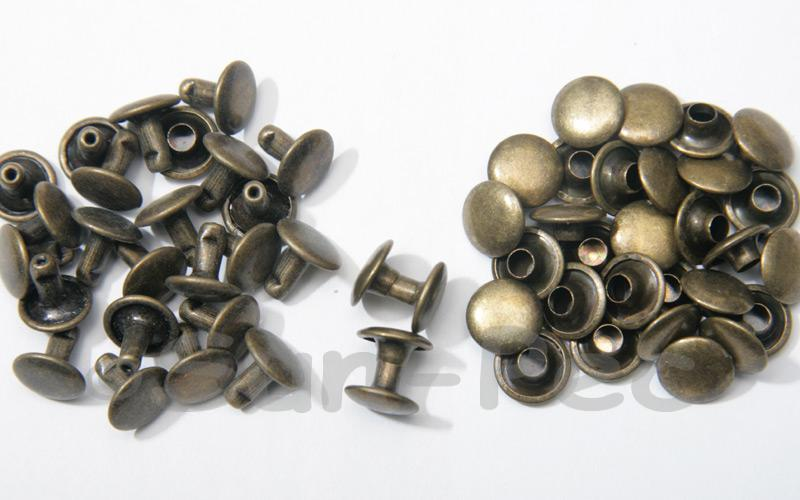 Antique Bronze 9 x 8mm Flat Round Dome Rivet & Burr Sets 10pcs - 100pcs