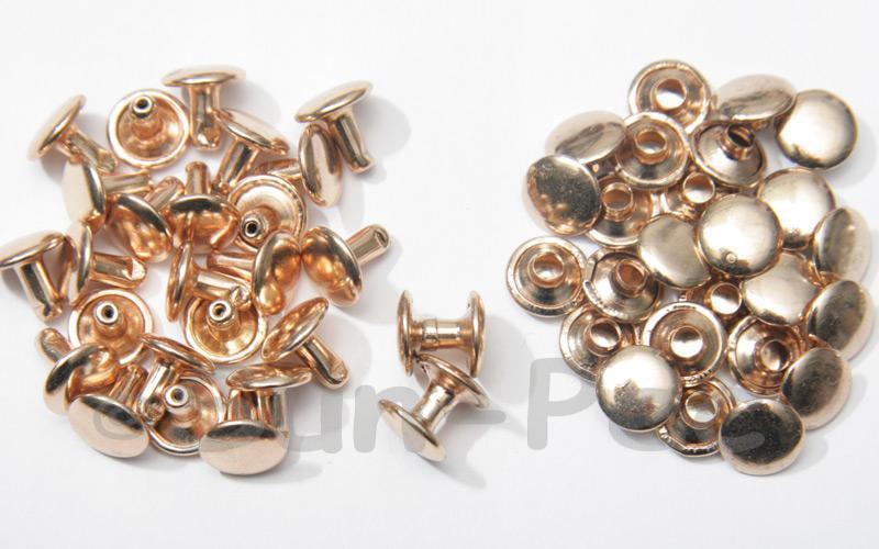 Soft Gold 9 x 8mm Flat Round Dome Rivet & Burr Sets 10pcs - 100pcs