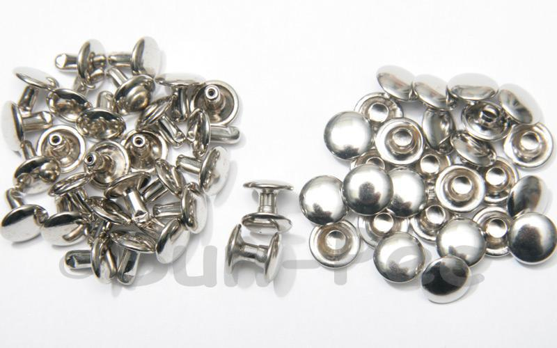 Silver 9 x 8mm Flat Round Dome Rivet & Burr Sets 10pcs - 100pcs