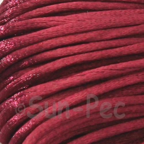 Dark Ruby 2.5mm Satin Rattail Knotting Cord 5m - 10m