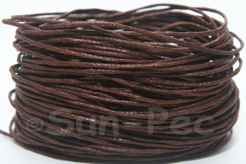 Dark Brown 1mm Smooth Coated Hemp Cord 5m - 60m