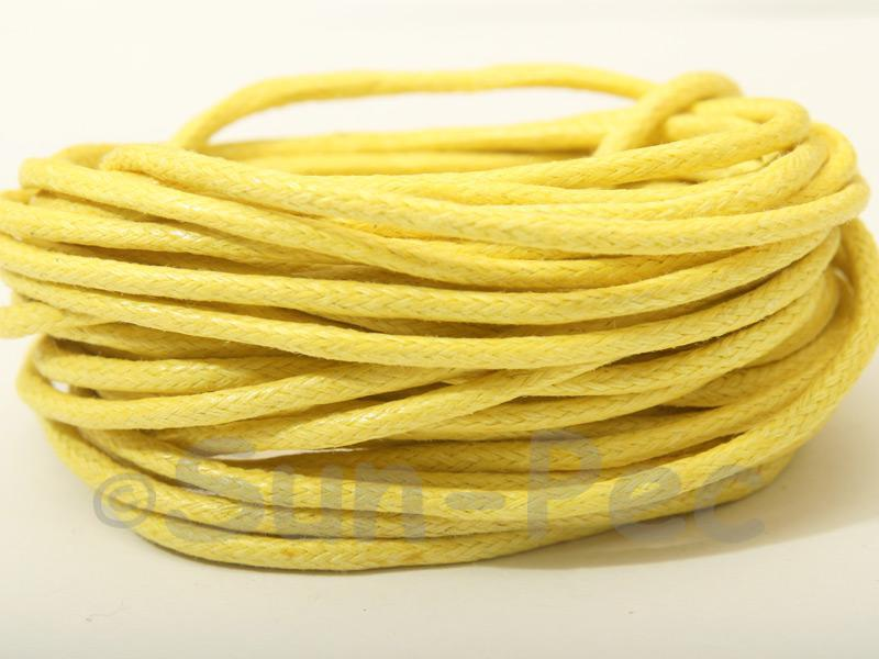 Yellow 2mm Smooth Coated Hemp Cord 2m - 50m