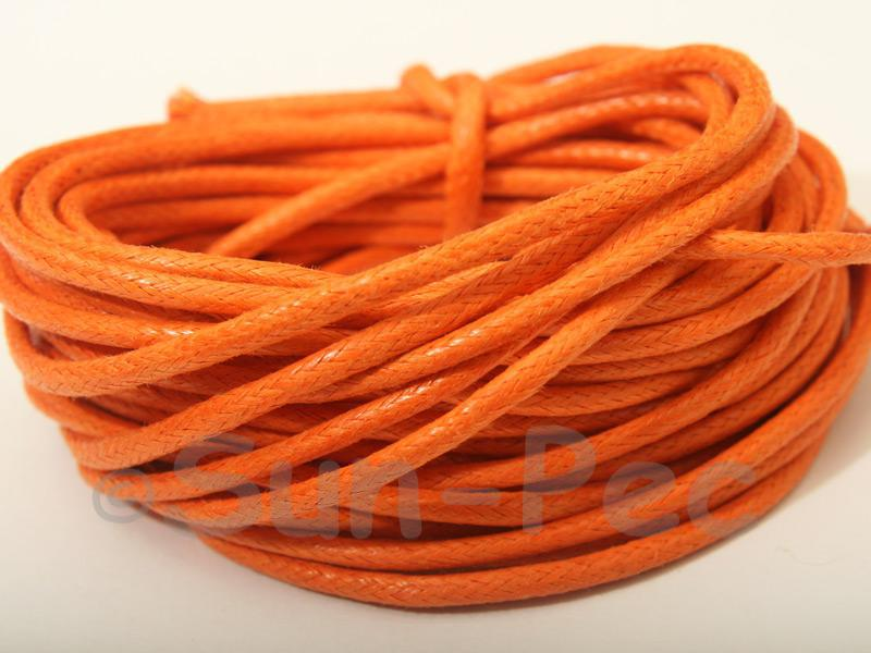 Orange 2mm Smooth Coated Hemp Cord 2m - 50m