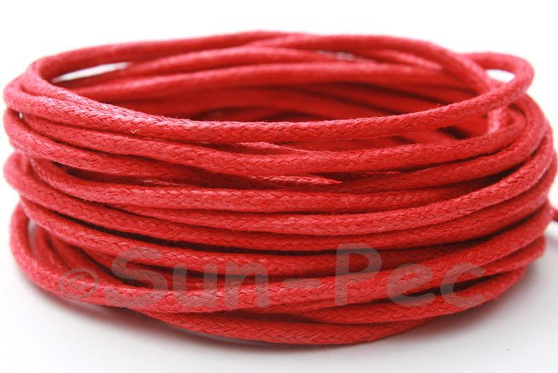 Red 2mm Smooth Coated Hemp Cord 2m - 50m