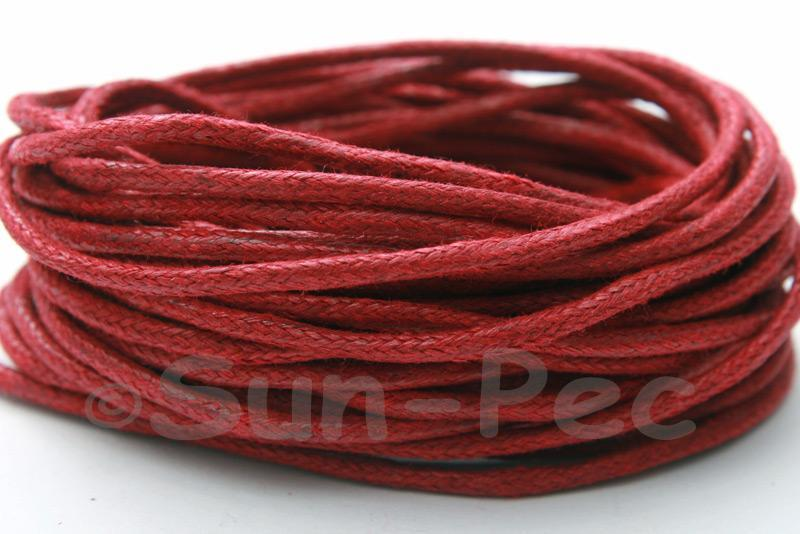 Wine Red 2mm Smooth Coated Hemp Cord 2m - 50m