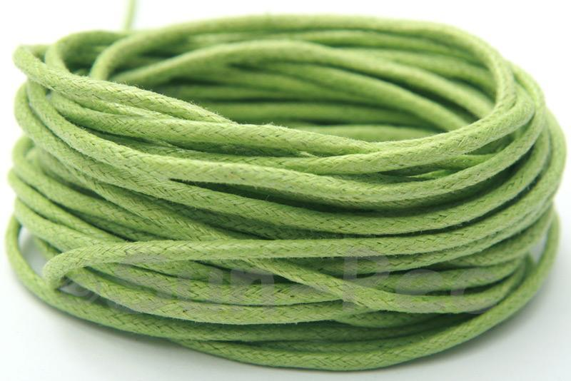 Grass-green 2mm Smooth Coated Hemp Cord 2m - 50m