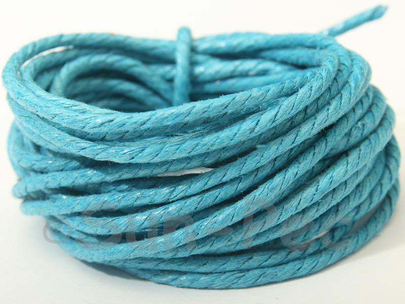 Brilliant Blue (Twisted) 2mm Smooth Coated Hemp Cord 2m - 30m