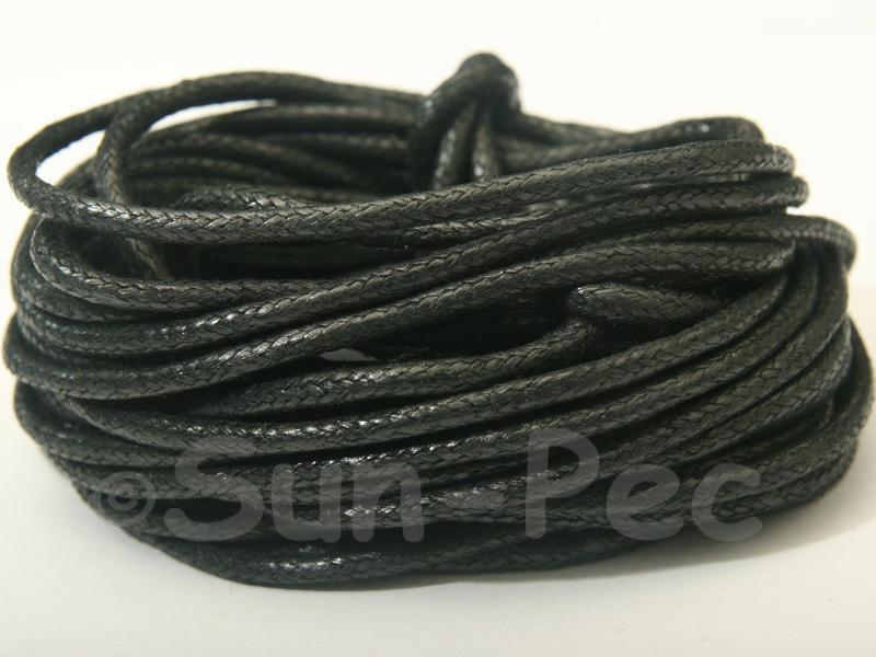 Black 2mm Smooth Coated Hemp Cord 2m - 50m