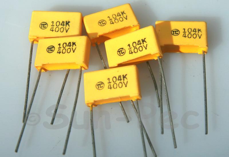 104J Polyester Film Capacitor CBB 400V +-5% 0.1uf 5pcs - 40pcs