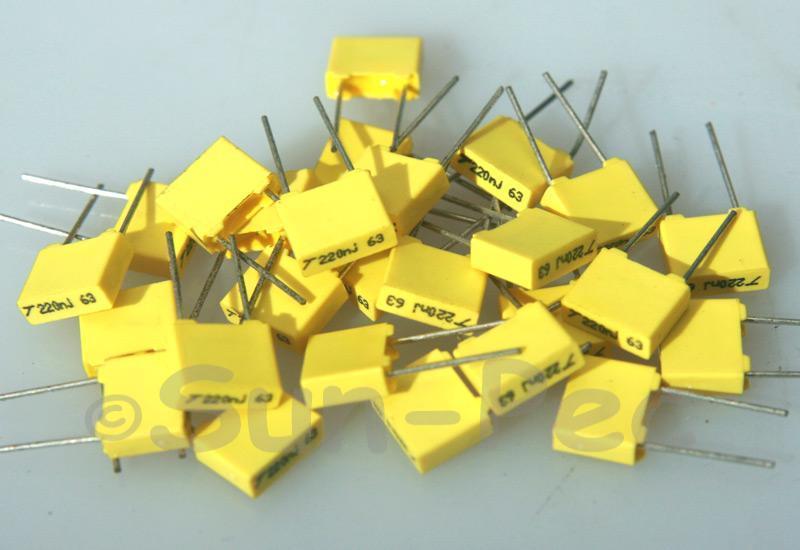 224J Polyester Film Capacitor CBB 63V +-5% 0.22uf 5pcs - 40pcs