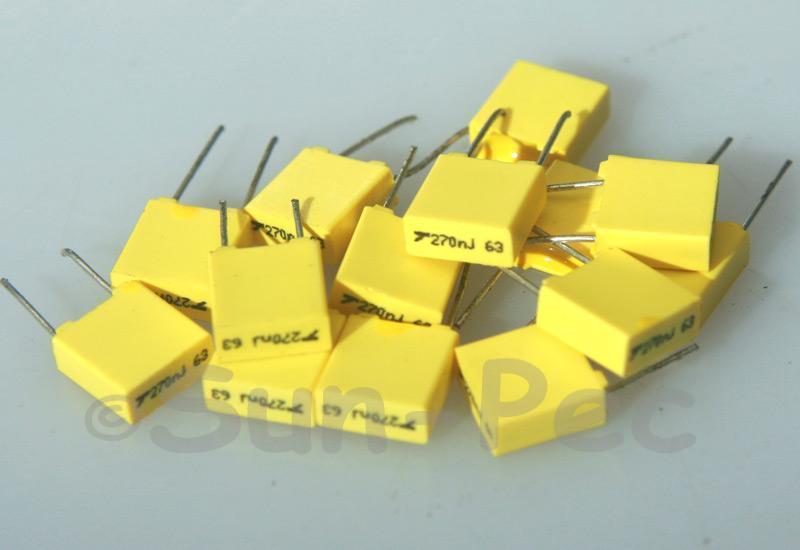 274J Polyester Film Capacitor CBB 63V +-5% 0.27uf 5pcs - 40pcs