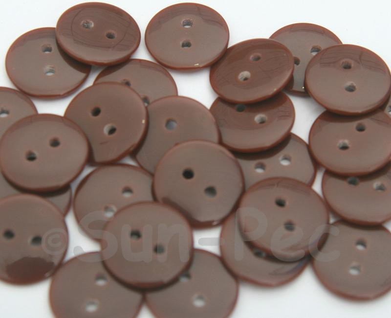 Coffee #2 15mm Standard Round 2 Eye Hole Buttons 20pcs - 50pcs