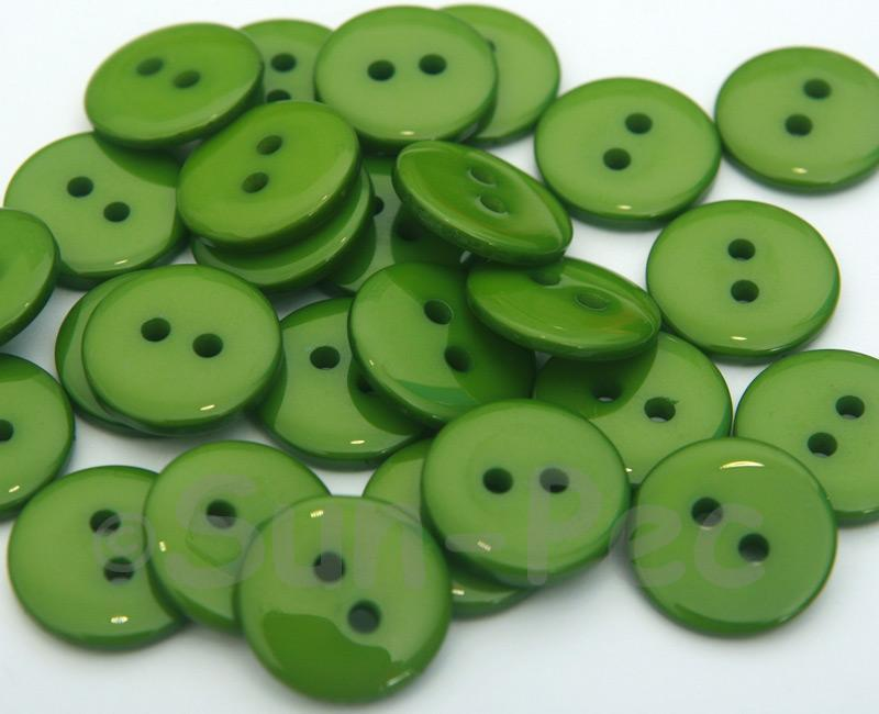 Green #1 15mm Standard Round 2 Eye Hole Buttons 20pcs - 50pcs
