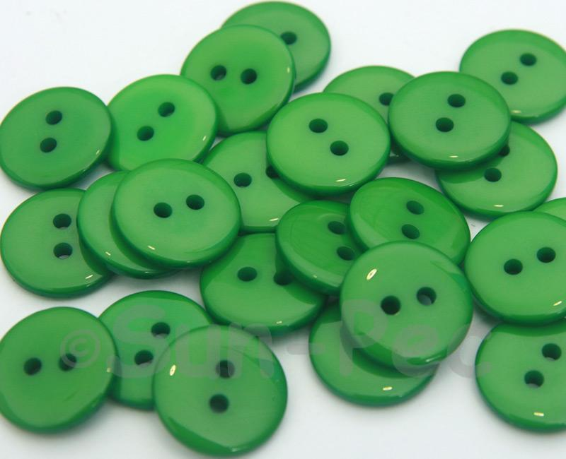 Green #2 15mm Standard Round 2 Eye Hole Buttons 20pcs - 50pcs