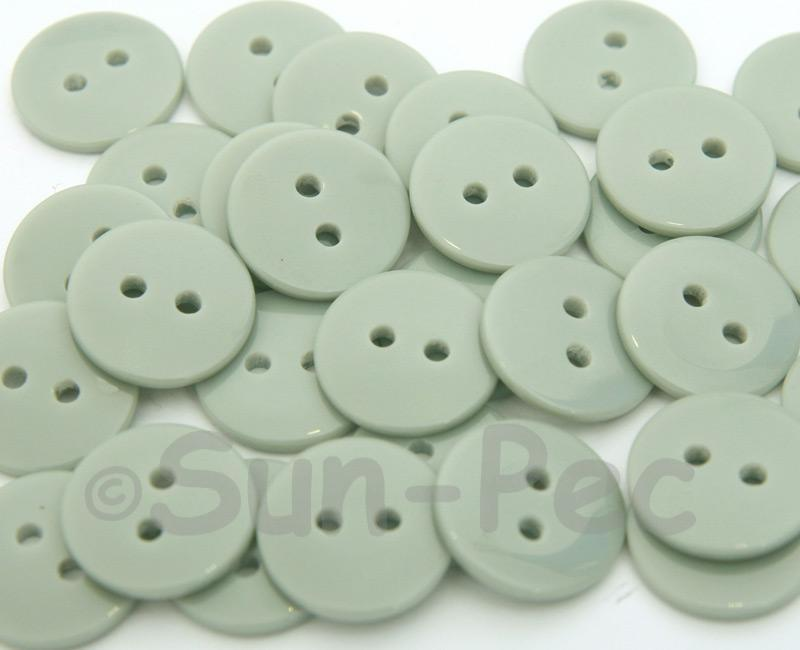Gray 15mm Standard Round 2 Eye Hole Buttons 20pcs - 50pcs