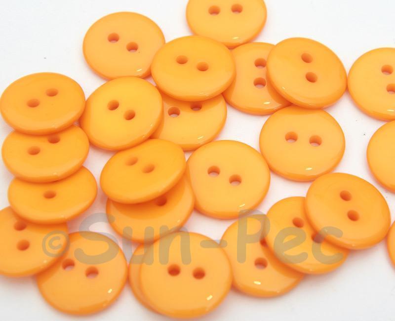 Light Orange #1 15mm Standard Round 2 Eye Hole Buttons 20pcs - 50pcs