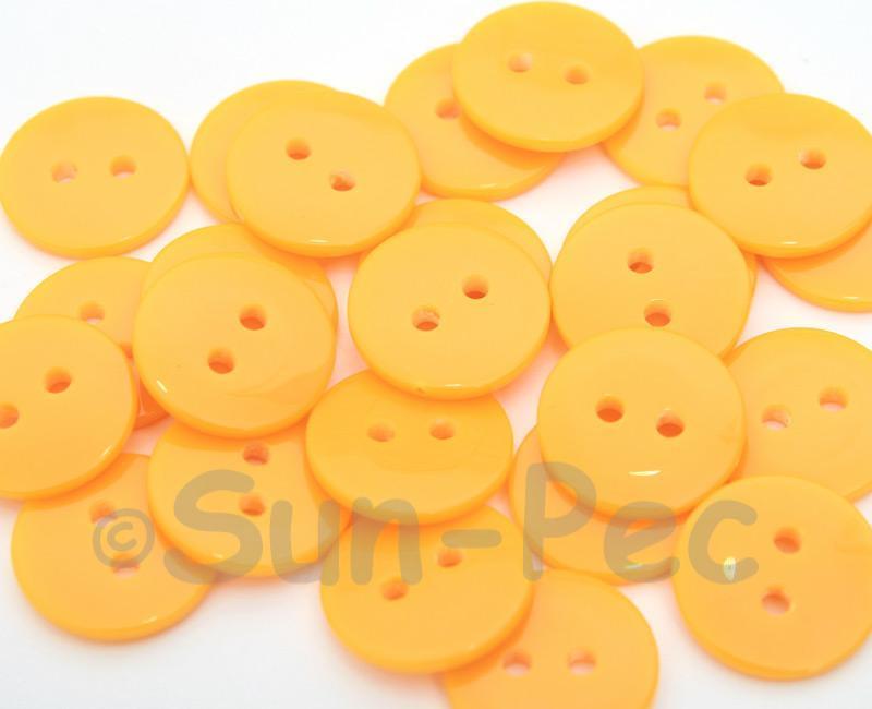 Light Orange #2 15mm Standard Round 2 Eye Hole Buttons 20pcs - 200pcs