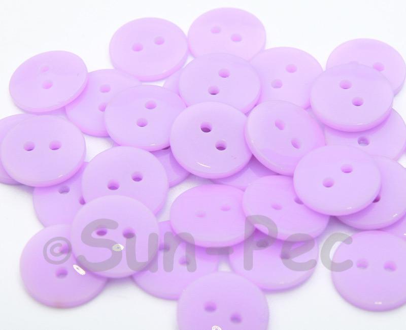 Light Purple 15mm Standard Round 2 Eye Hole Buttons 20pcs - 50pcs