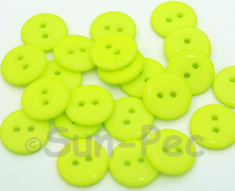 Neon Yellow #1 15mm Standard Round 2 Eye Hole Buttons 20pcs - 50pcs