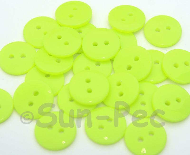 Neon Yellow #2 15mm Standard Round 2 Eye Hole Buttons 20pcs - 200pcs