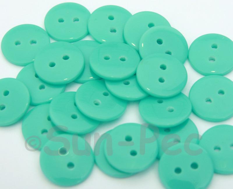 Sky Blue #2 15mm Standard Round 2 Eye Hole Buttons 20pcs - 50pcs