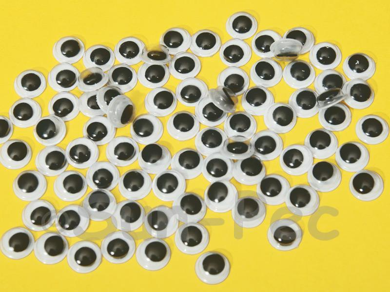 Plain Black 8mm Adhesive Googly Eyes for Crafts/Embellishments 50pcs - 200pcs