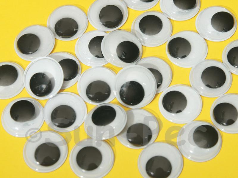 Plain Black 18mm Adhesive Googly Eyes for Crafts/Embellishments 20pcs - 100pcs
