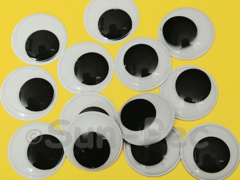 Plain Black 25mm Adhesive Googly Eyes for Crafts/Embellishments 15pcs - 100pcs