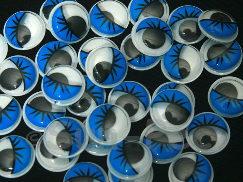 Blue Lashes 15mm Adhesive Googly Eyes for Crafts/Embellishments 20pcs - 100pcs