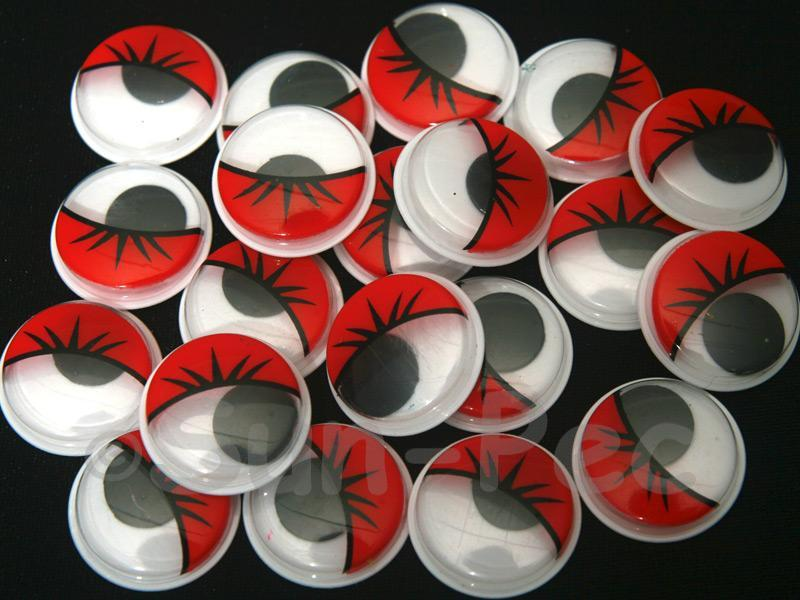 Red Lashes 20mm Adhesive Googly Eyes for Crafts/Embellishments 20pcs - 100pcs