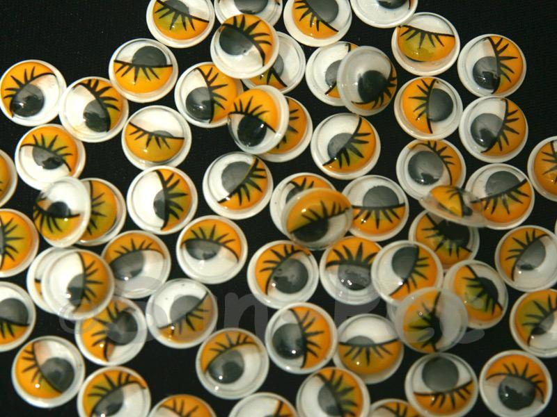 Yellow Lashes 10mm Adhesive Googly Eyes for Crafts/Embellishments 20pcs - 100pcs