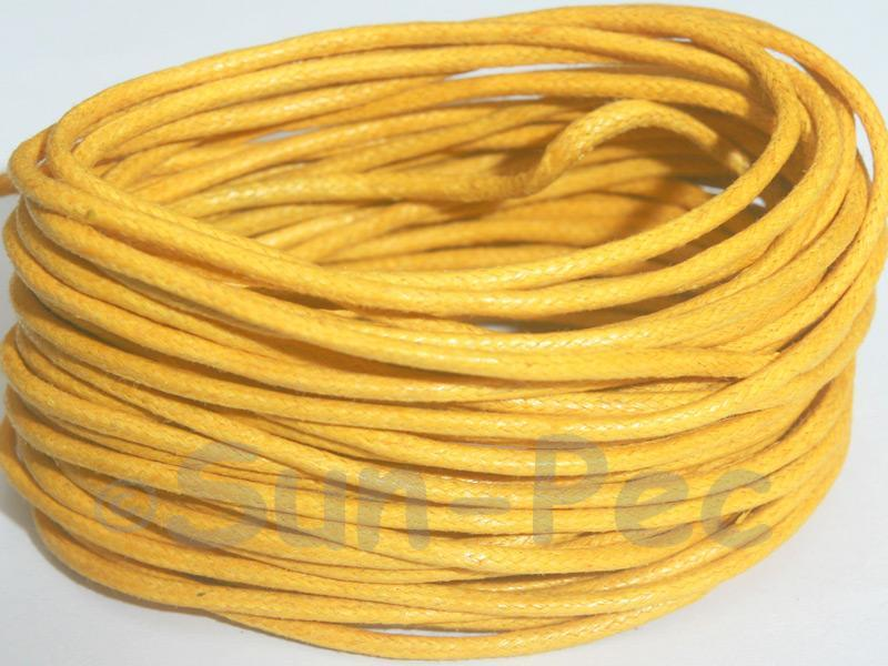 Dark Yellow 2mm Smooth Coated Hemp Cord 2m - 50m