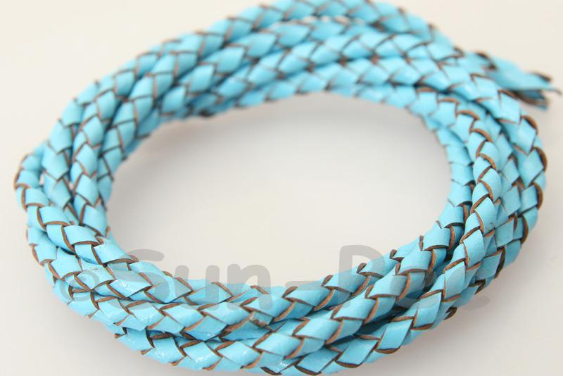 Azure 3mm Braided Genuine Hide Leather Cord 1m - 5m