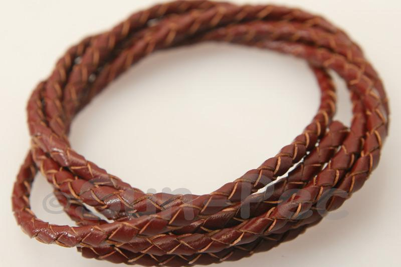 Burgundy 3mm Braided Genuine Hide Leather Cord 1m - 2m