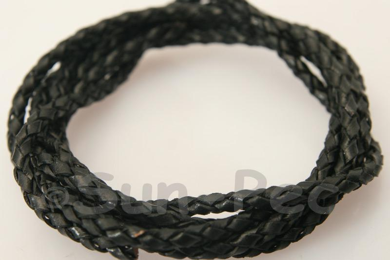 Black 3mm Braided Genuine Hide Leather Cord 1m - 5m