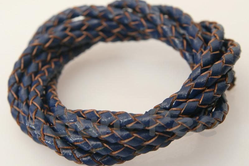 Dark Blue 3mm Braided Genuine Hide Leather Cord 1m - 5m