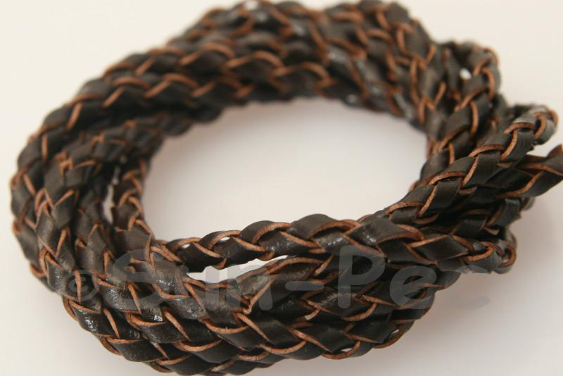 Dark Coffee 3mm Braided Genuine Hide Leather Cord 1m - 5m