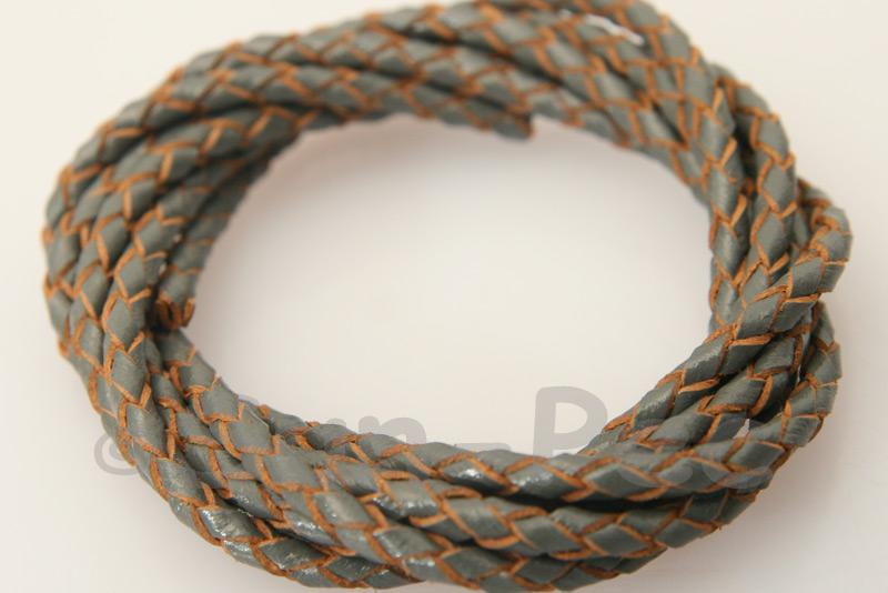 Gray 3mm Braided Genuine Hide Leather Cord 1m - 5m