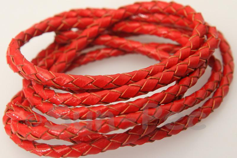 Red 3mm Braided Genuine Hide Leather Cord 1m - 5m
