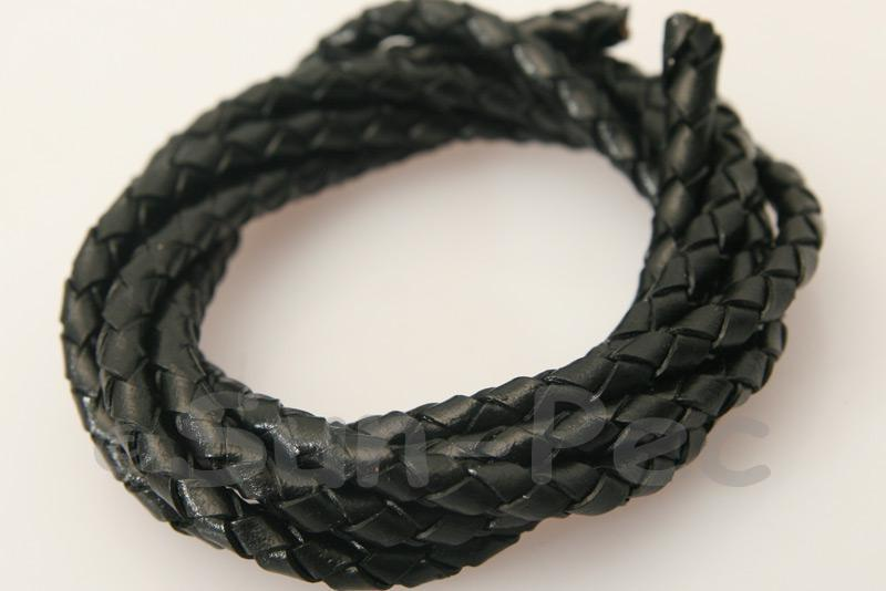 Black 4mm Braided Genuine Hide Leather Cord 1m - 5m