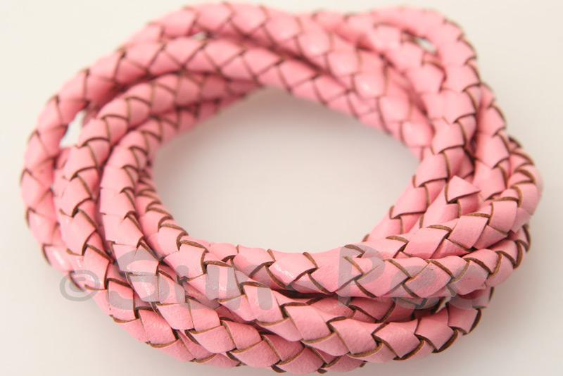 Pink 4mm Braided Genuine Hide Leather Cord 1m - 5m