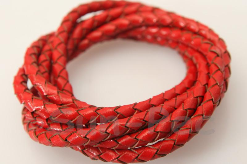 Red 4mm Braided Genuine Hide Leather Cord 1m - 5m