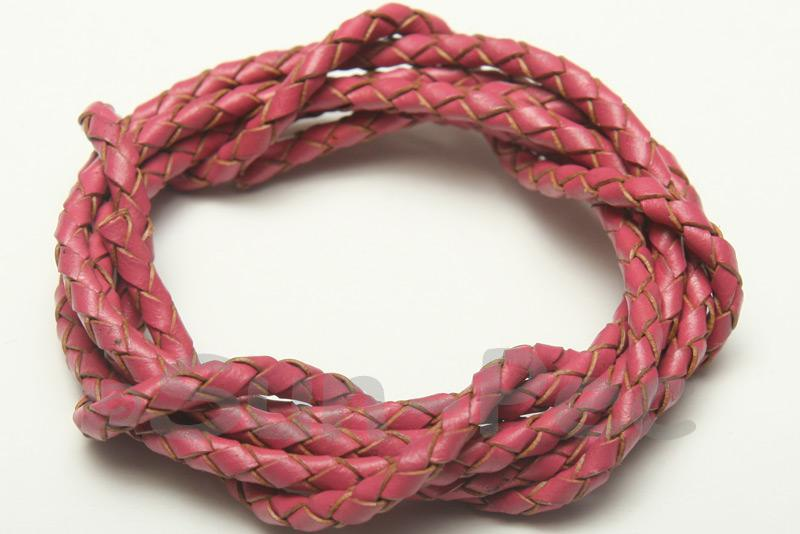 Rose 3mm Braided Genuine Hide Leather Cord 1m - 5m